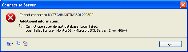 Cannot open user default database Login failed Login failed for user