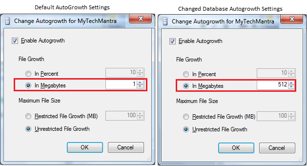 Change AutoGrowth for SQL Server Database from its Default Settings