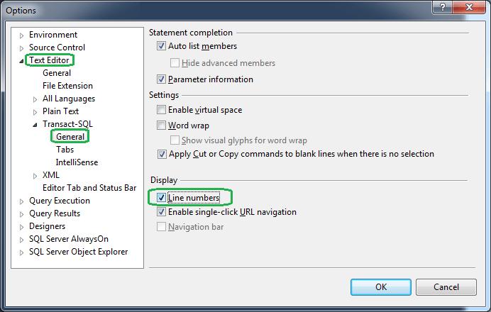 Display Line Numbers in SQL Server Management Studio