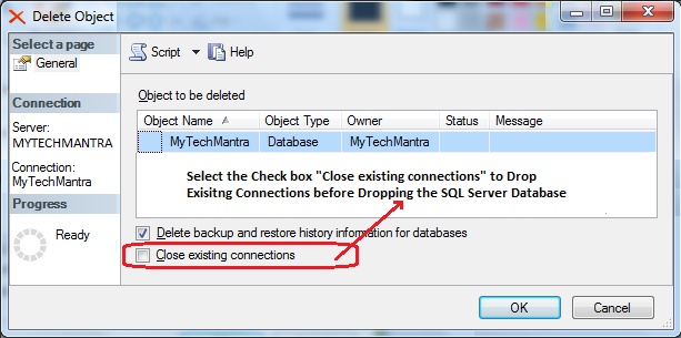 Close Existing Connection in an SQL Server Database before Restoring the Database