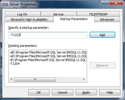 Enable Trace Flag 1222 and 1204 in SQL Server Using Startup Parameters