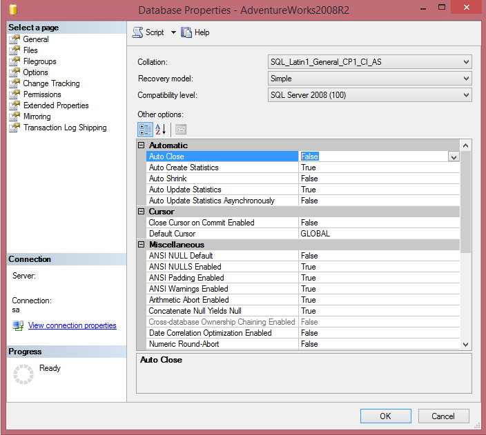 How to Disable Auto Close Database Option in SQL Server Using SSMS