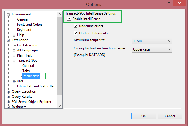 How to Enable and Refresh IntelliSense in SQL Server Management