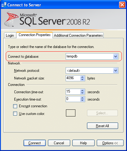 In SSMS Connection Properties Specify Default Database as TempDB and Click Connect