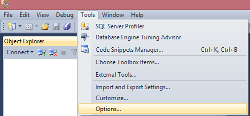 Options Tab in SSMS