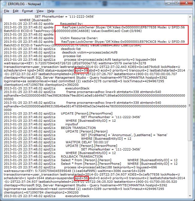 SQL Server Deadlock Information Captured in SQL Server Error Log File