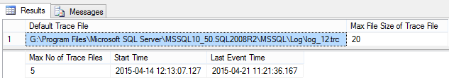SQL Server Trace File Location