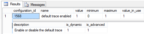 Using sys.configurations How to check whether Default Trace is running on SQL Server Instance