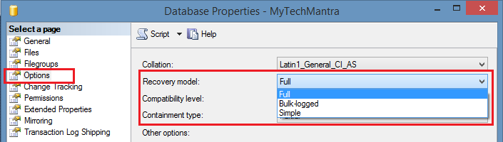 How to change Database Recovery Model to Full Recovery Model